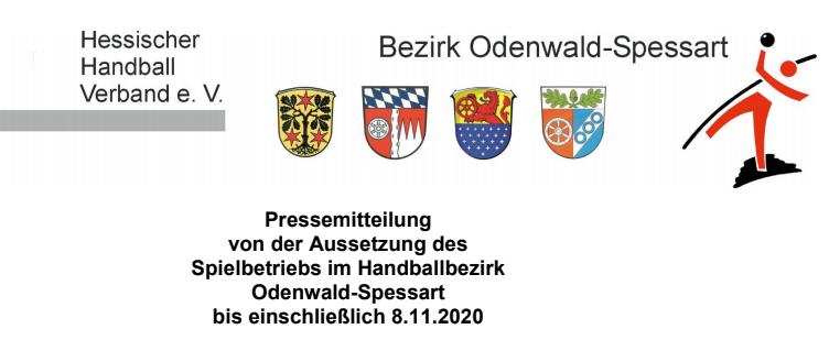 HHV Odenwald-Spessart: Aussetzung des Spielbetriebs bis 8.11.2020
